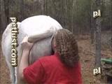 Gordo branquinho chupa e fode a buceta grande de uma égua no bosque