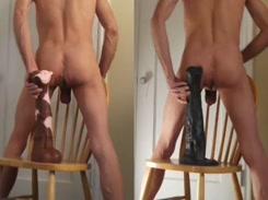 Gay safado enfiando estatua no rabo e gozando gostoso