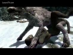 Cachorro grande rasgando cuzinho da sua dona no Videos de Hentai Porno brasileiro