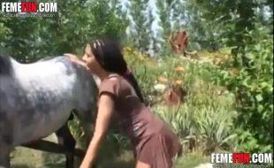 Camponesa safada chupa tira roupa e transa com cavalo ao ar livre