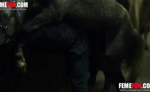 Cavalo detona o cu do puto do interior na zoofilia real