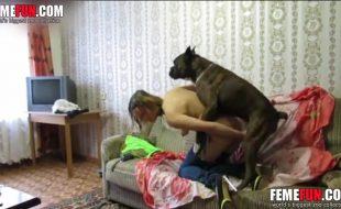 Com calça rasgada na bunda amadora goza na piroca do seu cão de raça