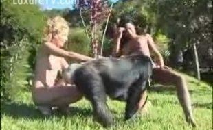 Pornô de zoofilia com loira e morena gostosas fodendo com macado no zoológico