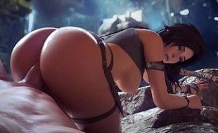 Sexo 3D Lara Croft mexendo com rola gigante na buceta