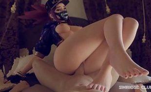 Sexo 3D novinha mascarada se divertindo na rola grande e grossa